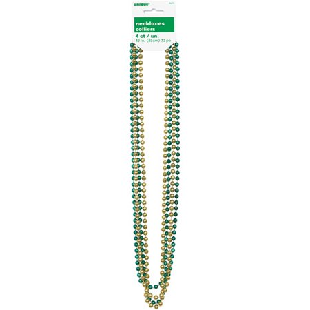 Mardi Gras Beads, 32 in, Green & Gold, 4ct for $<!---->