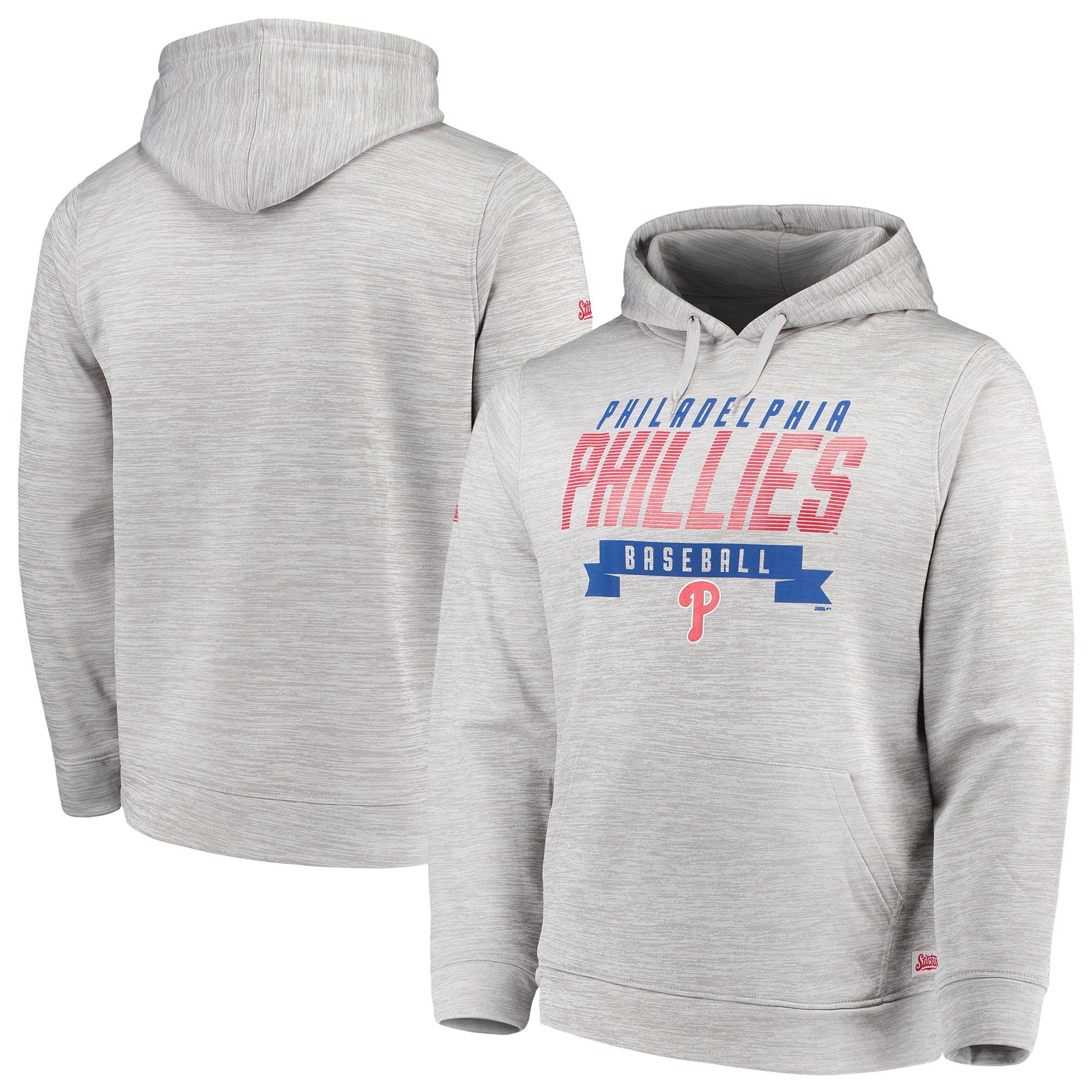 Philadelphia Phillies Stitches Poly Pullover Hoodie - Heathered Gray