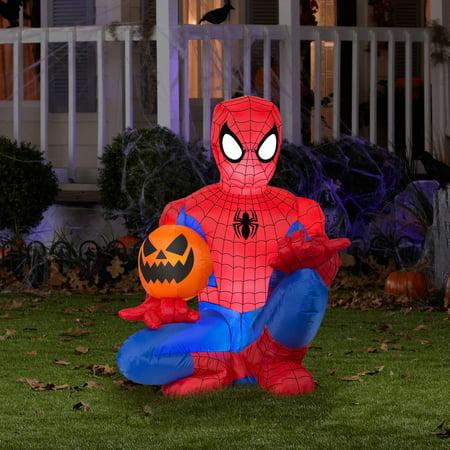 4' Tall Spiderman Holding Pumpkin Halloween Airblown Inflatable - Spider Man Halloween