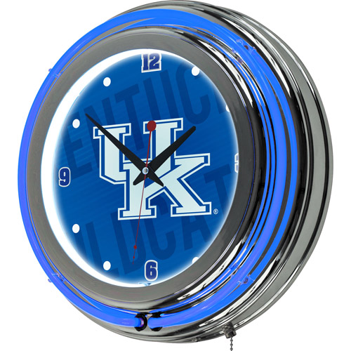 University of Kentucky Chrome Double Rung Neon Clock, Wordmark