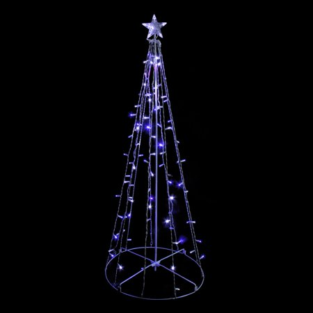 5' Blue and White LED Lighted Twinkling Show Cone Christmas Tree Outdoor Decoration ()