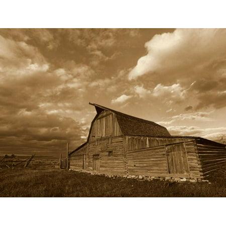 Mormon Row Barn Grand Teton National Park Wyoming - Sepia Poster Print by Tim Fitzharris (9 x