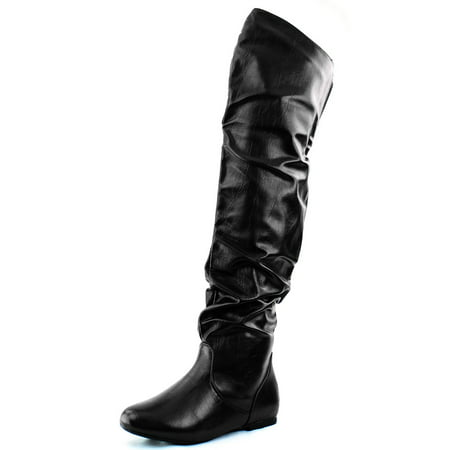 DailyShoes Fashion-Hi Over the Knee Thigh High Boots Black PU, Black Pu, 9 B(M)