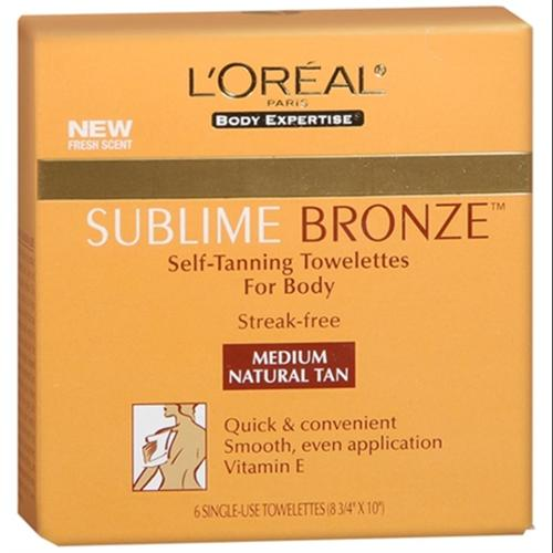 L'Oreal SUBLIME BRONZE Self-Tanning Towelettes For Body Medium Natural Tan 6 Each (Pack of 6)