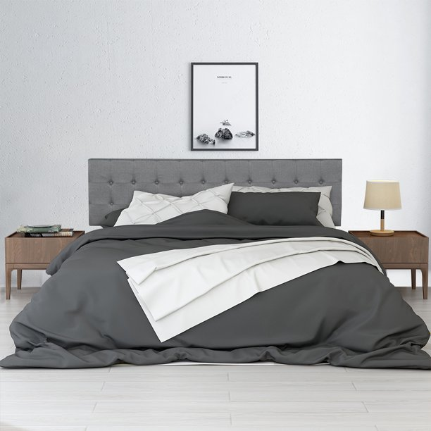 """Platform Bed Frame King Size, Gray Platform Bed with Headboard, Upholstered Linen Stitch Tufted Furniture for Bedroom with Wood Slats, Capability of 500 lb, Need Box Spring, 87""""x78""""x39.8"""", Q5837"""