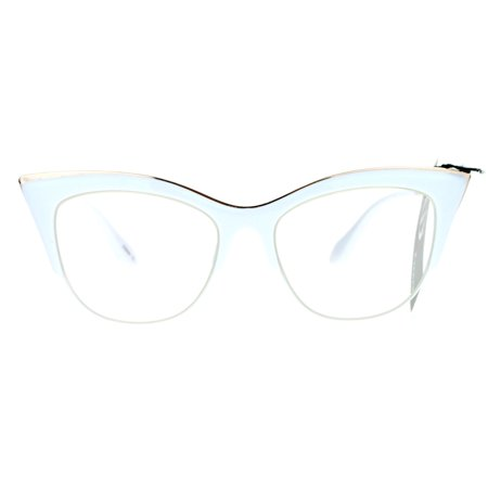 943f17f44f SA106 Womens High Point Squared Half Rim Look Cat Eye Glasses White -  Walmart.com