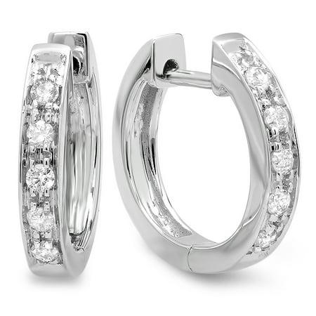 0.15 Carat (ctw) 10K White Gold Round White Diamond Ladies Huggie Hoop Earrings