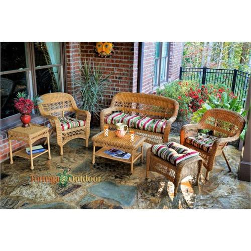 Tortuga Portside 6 Piece Outdoor Sofa Set-Dark Roast Miranda Terrace Chamomile