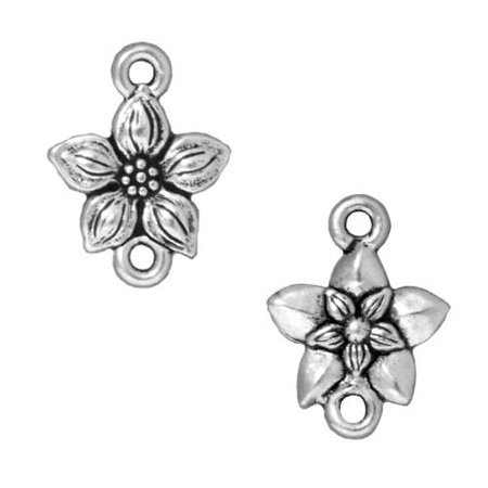 Fine Silver Plated Pewter Star Jasmine Flower Connector Links 16mm (2)