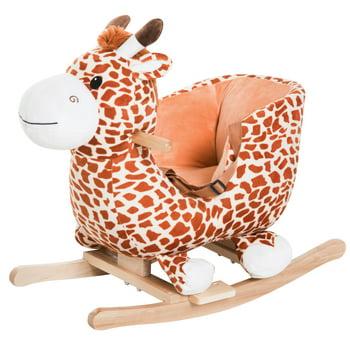 Qaba Kids Plush Rocking Horse-Style Giraffe Themed Ride-On Chair Toy