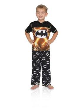 DC Comics Boys' Big 3 Piece Jersey Pajama Set Pants Short Sleeve Top and Shorts, Batman, Size: 8