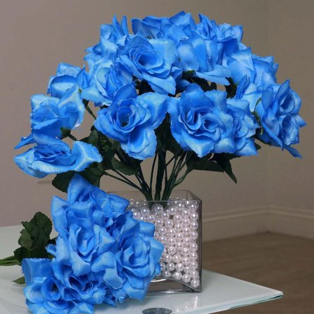 New Rise - 84 Artificial Silk Open Roses Wedding Flower Bouquet Center - New Blue