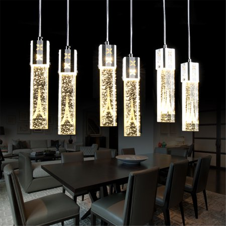 1pcs Modern Led Clear Crystal Column Eiffel Tower Bubble Pendant Lights Lamps Nordic Single Head Dining Rooms Restaurants Cafe Bar Living Rooms Droplights Decor Gift ()