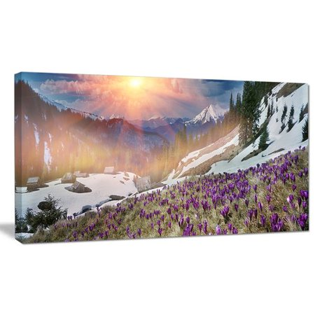 - Design Art 'Crocus Flowers in Carpathians' Graphic Art on Wrapped Canvas