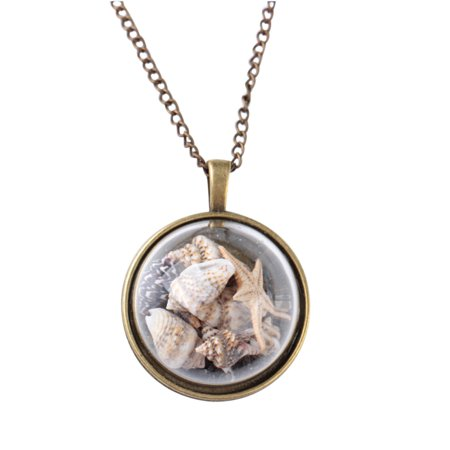 iLH Mallroom Style Beach Conch Shell Sea Star Necklace Ocean Element Glass Cover Pendant - Beach Necklaces