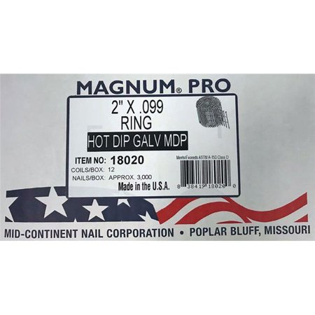 Magnum Fasteners 2847952 15 deg Ring Shank Angled Coil Nails, 2 in. x 0.099 in. Dia. - Pack of 3000