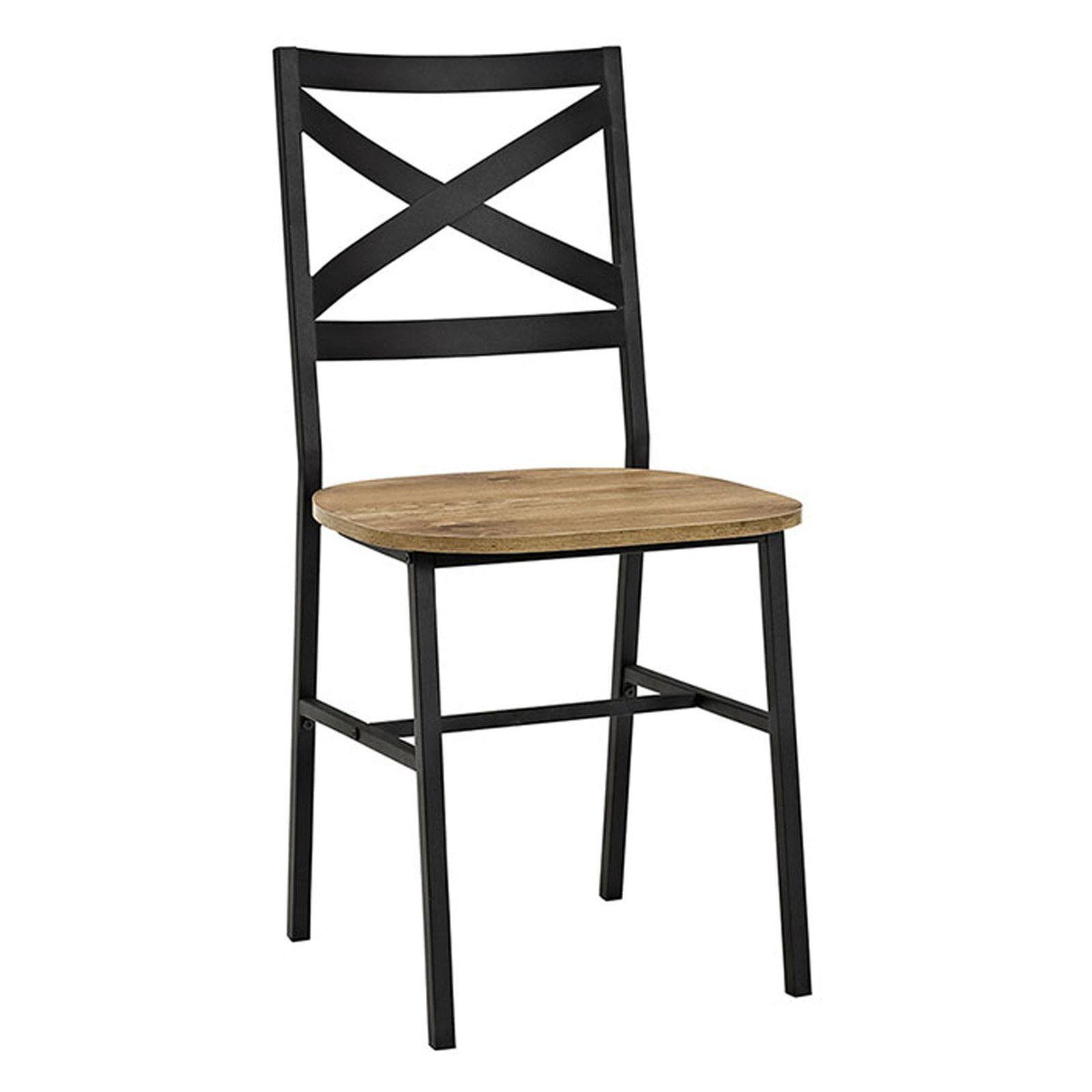 walker edison metal cross back dining chair set of 2. Black Bedroom Furniture Sets. Home Design Ideas
