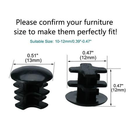 "2pcs 13mm OD Plastic Round End Tube Insert Rib Pipe Cover Black Floor Furniture Feet Protector, for 0.39""-0.47"" Inner Di - image 1 de 7"