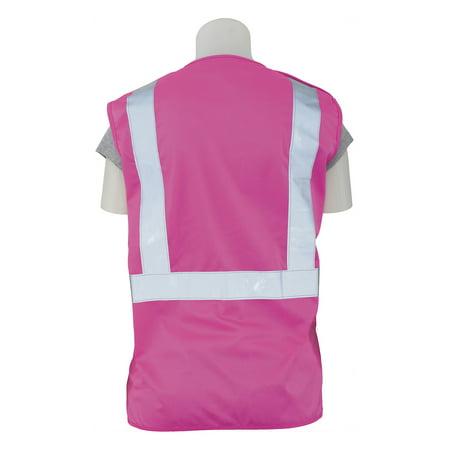 ERB Safety S725 Pink Ansi Class 3 Vest Oxford Front / Mesh Back Hi-Viz Lime - Zipper