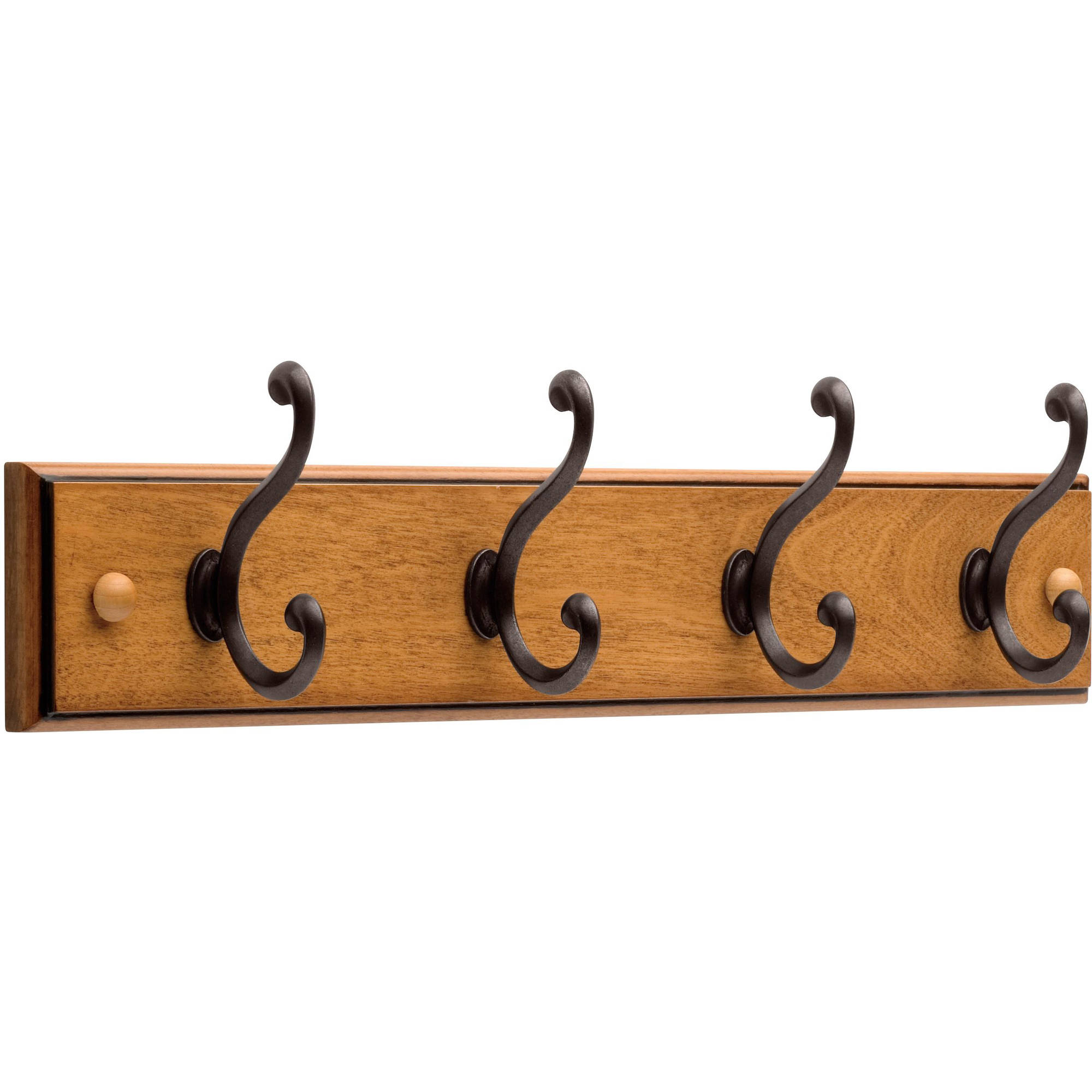 "Liberty 18"" Rail with 4 Scroll Hooks, Honey Maple"
