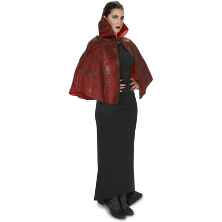 Red Spiderweb Print Adult Cape Halloween Accessory