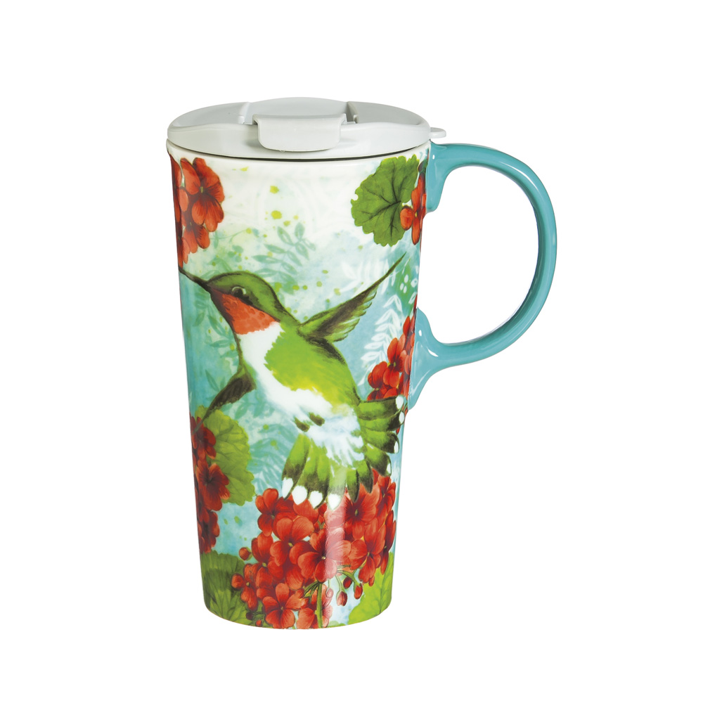 Cypress Home Hummingbird Trio Ceramic Travel Coffee Mug, 17 ounces