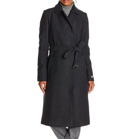 Charcoal Womens Notch Collar Belted Seamed Coat 12