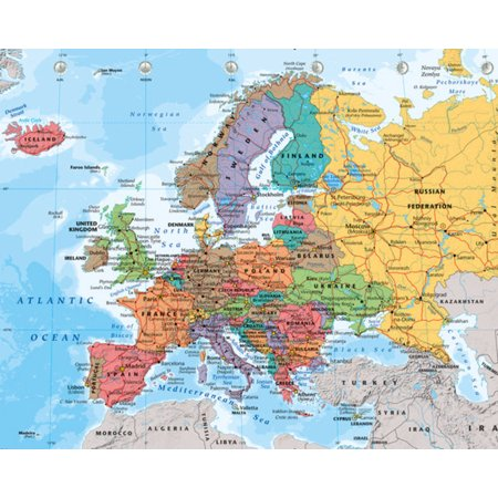 Political Map of Europe With Flags Educational Poster 20x16 inch