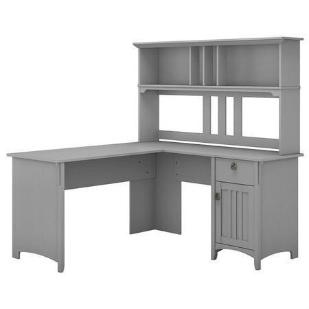 Bush Furniture Salinas 60W L Shaped Desk with Hutch in Cape Cod Gray Bush Quantum Desk Shell