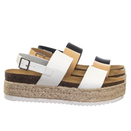 Reef Rubber Sole Sandals - Kazoo by Soda, 70s Retro Jute Wrap Espadrille Flat Platform Flatform Sandal, Treaded Sole