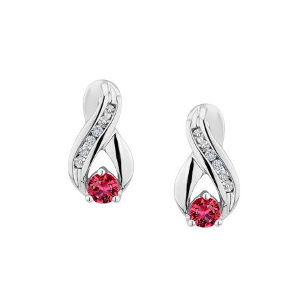 Created Ruby Infinity Earrings with Diamonds 1/5 Carat (ctw) in Sterling Silver