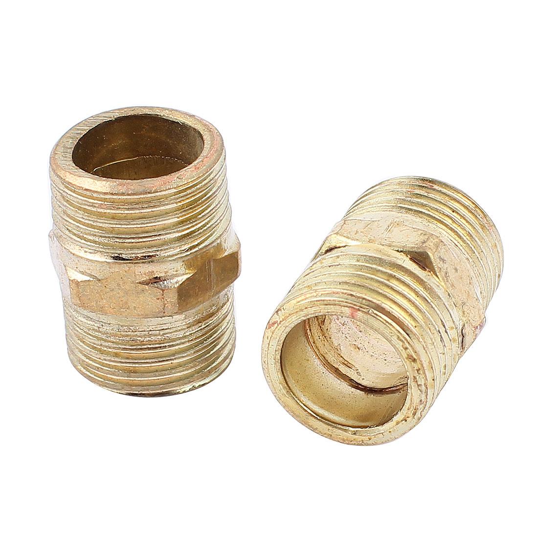 2Pcs Gold Tone Brass 1/2BSP x 1/2BSP Male Hex Nipple Connector Adapter 27mm Long