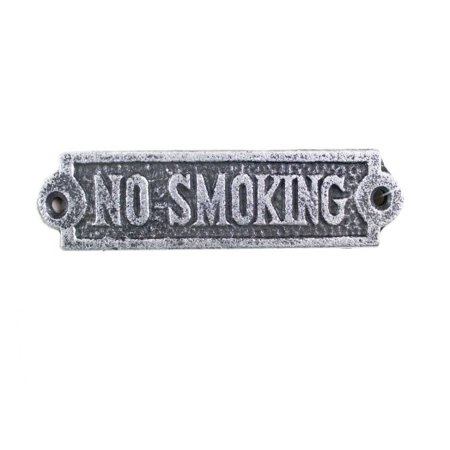 "Antique Silver Cast Iron No Smoking Sign 6"" - Beach Sign - Decorative Metal Sign"