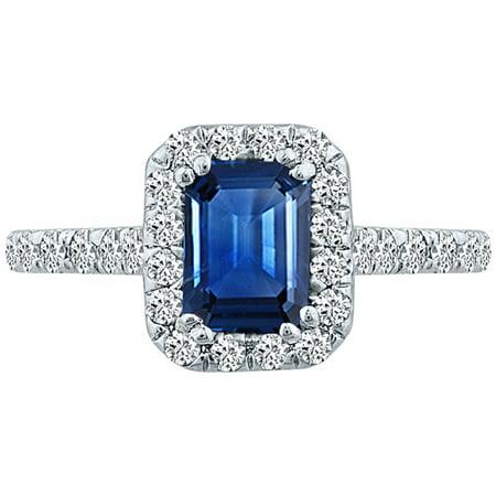 2.07 tcw Emerald Cut Sapphire & Natural Diamond Halo Ring 10k White Gold Cut Natural Sapphire