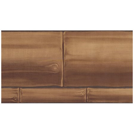 Wallpaper Border - Faux Wooden Planks Wall Border Retro Design, Prepasted Roll 15 ft. x 5 in.