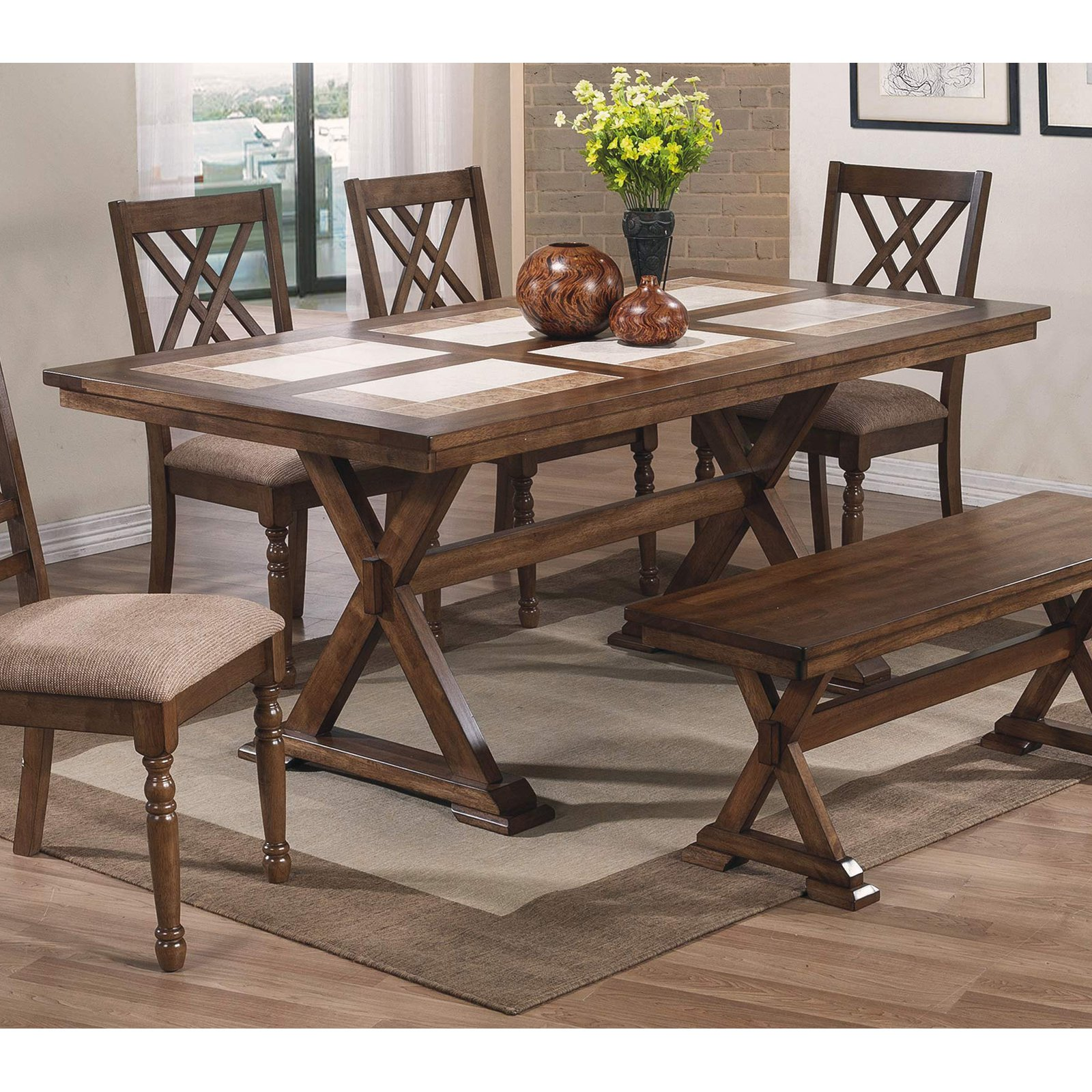 Winners Only Florence Tile Top X-Leg Dining Table Table