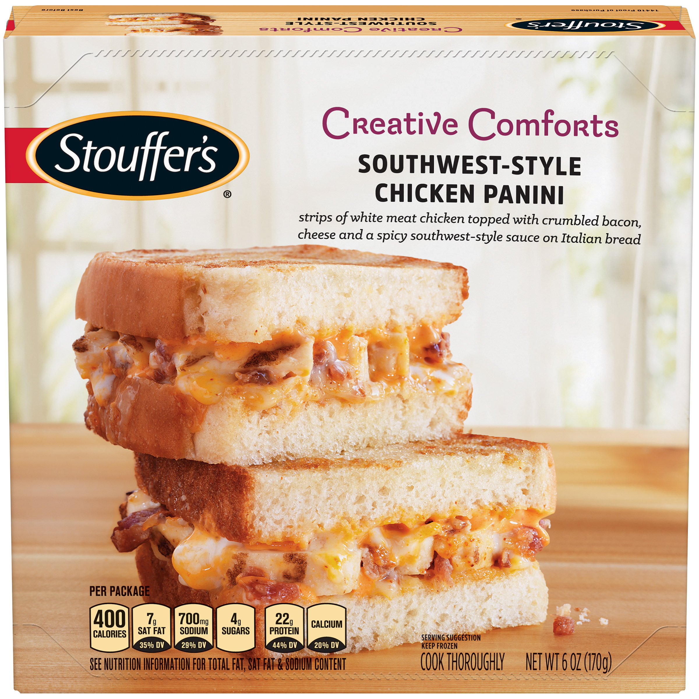 STOUFFER'S Creative Comforts Southwest-Style Chicken Panini Frozen Entree 6 oz. Box