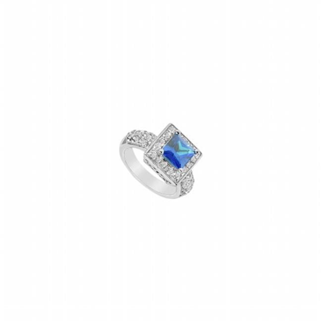 Fine Jewelry Vault UBUK279W10CZS-118RS7 Created Sapphire & Cubic Zirconia Ring 10K White Gold, 2.00 CT - Size 7