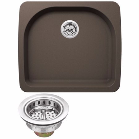"Drop In Single Bowl - Cahaba CA344D25-M Quartz Topmount / Drop In Single Bowl Kitchen Sink, 25"" x 22"" with Twist and Lock Straine"