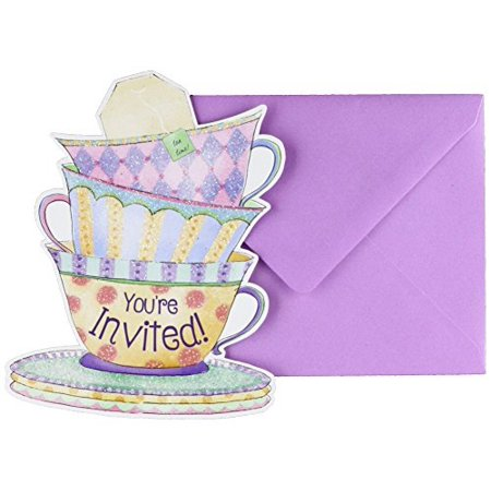 Amscan 490140 Party Supplies Tea Cup Large Novelty Invitations (8 Ct), Multi