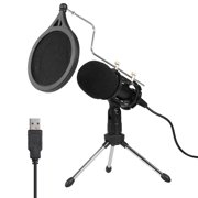 USB Condenser Microphone Recording Microphone Kit Karaoke Voice Microphone USB Drive-free Microphone with Tripod