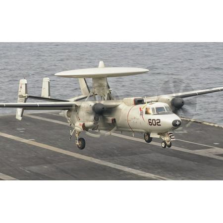 An E 2C Hawkeye Landing On The Flight Deck Of Uss George Hw Bush Canvas Art   Giovanni Collastocktrek Images  35 X 22