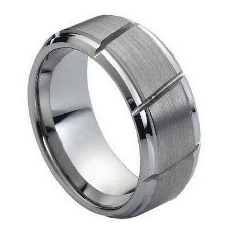 TK Rings 065TR-9mmx11.5 9 mm Multiple Diagonal Grooves Brushed Center Tungsten Ring - Size 11.5 - image 1 de 1