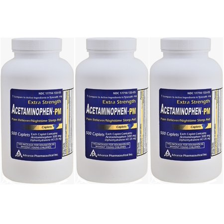 Acetaminophen PM Generic for Tylenol PM 1500 Caplets Pain Reliever & Nighttime Sleep Aid