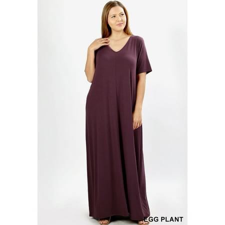 JED FASHION Women\'s Plus Size V-Neck Short Sleeve Casual Maxi Dress
