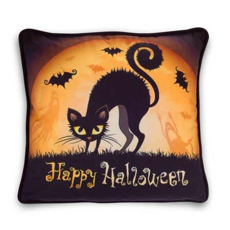 Astonishing Happy Halloween Black Cat And Bats Pillow Couch Cushion Accent Decoration New Walmart Com Alphanode Cool Chair Designs And Ideas Alphanodeonline