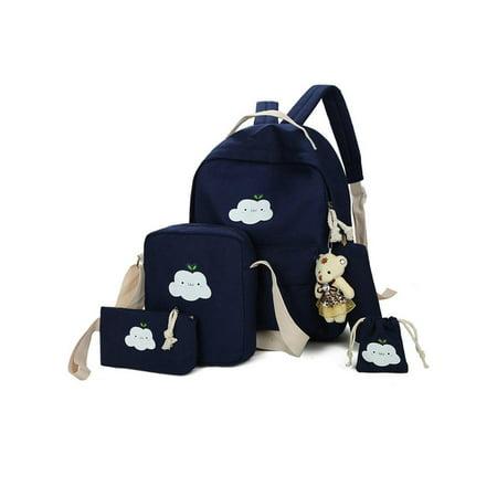 0bf9f2a49fbe Topcobe 5 Pcs/Sets Canvas Backpacks for Teenage Girls, Black Classic Canvas  School Backpack for Kids, 1 Backpacks+1 Shoulder Bag+1 Handbag+1 Pencil ...
