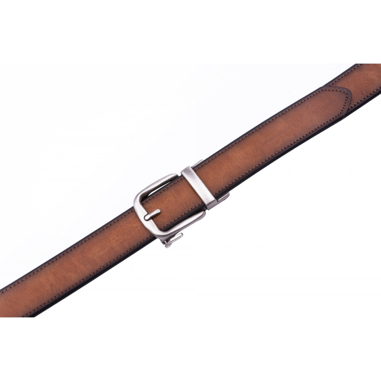 Cognac Casual 40mm Thick Leather Belt For Men With Automatic Ratchet Buckle
