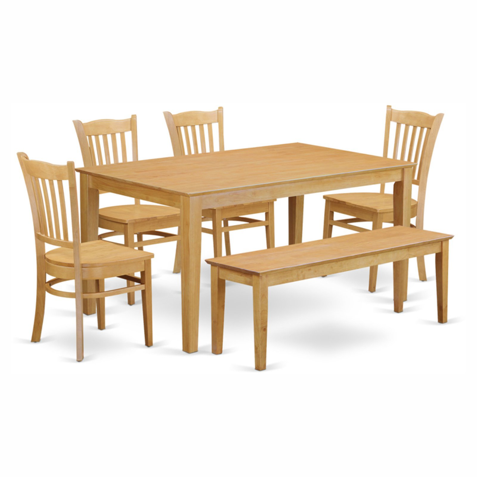 East West Furniture Capris 6 Piece Rectangular Dining Table Set with Groton Wooden Seat Chairs