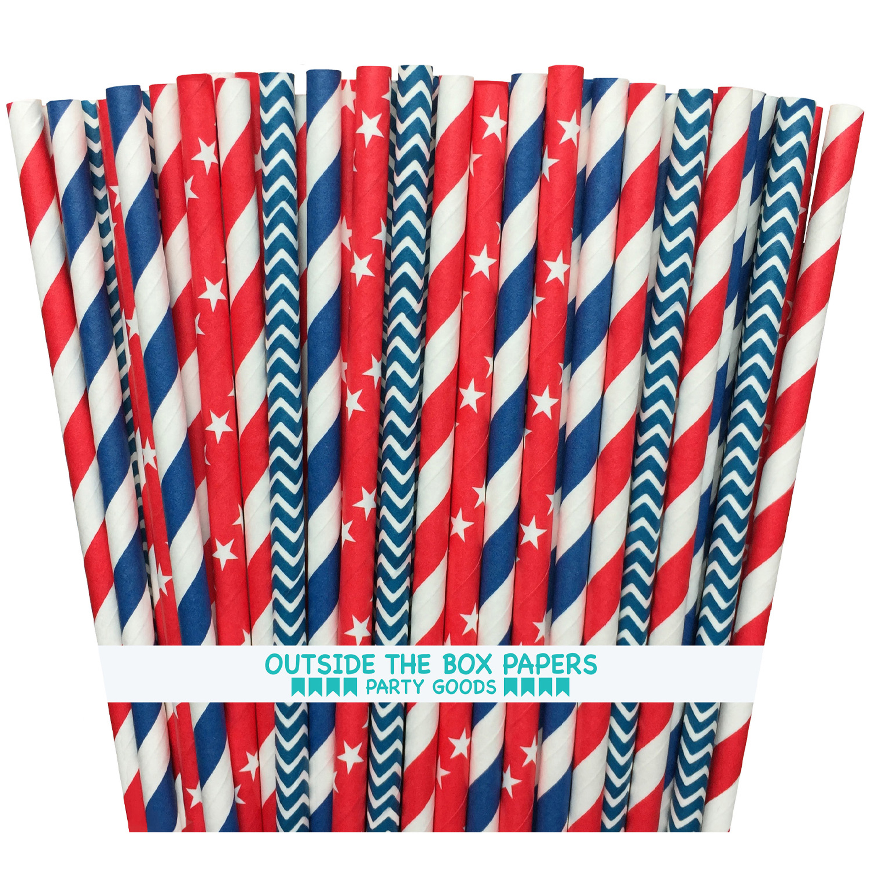 Red, White and Blue Stripe, Star, Chevron Paper Straw 100 Pack